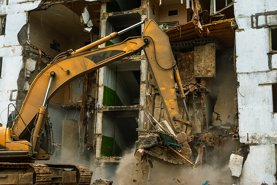 demolishing the building area