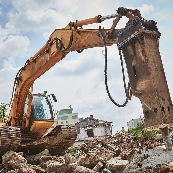 excavating the land with hydro hammer